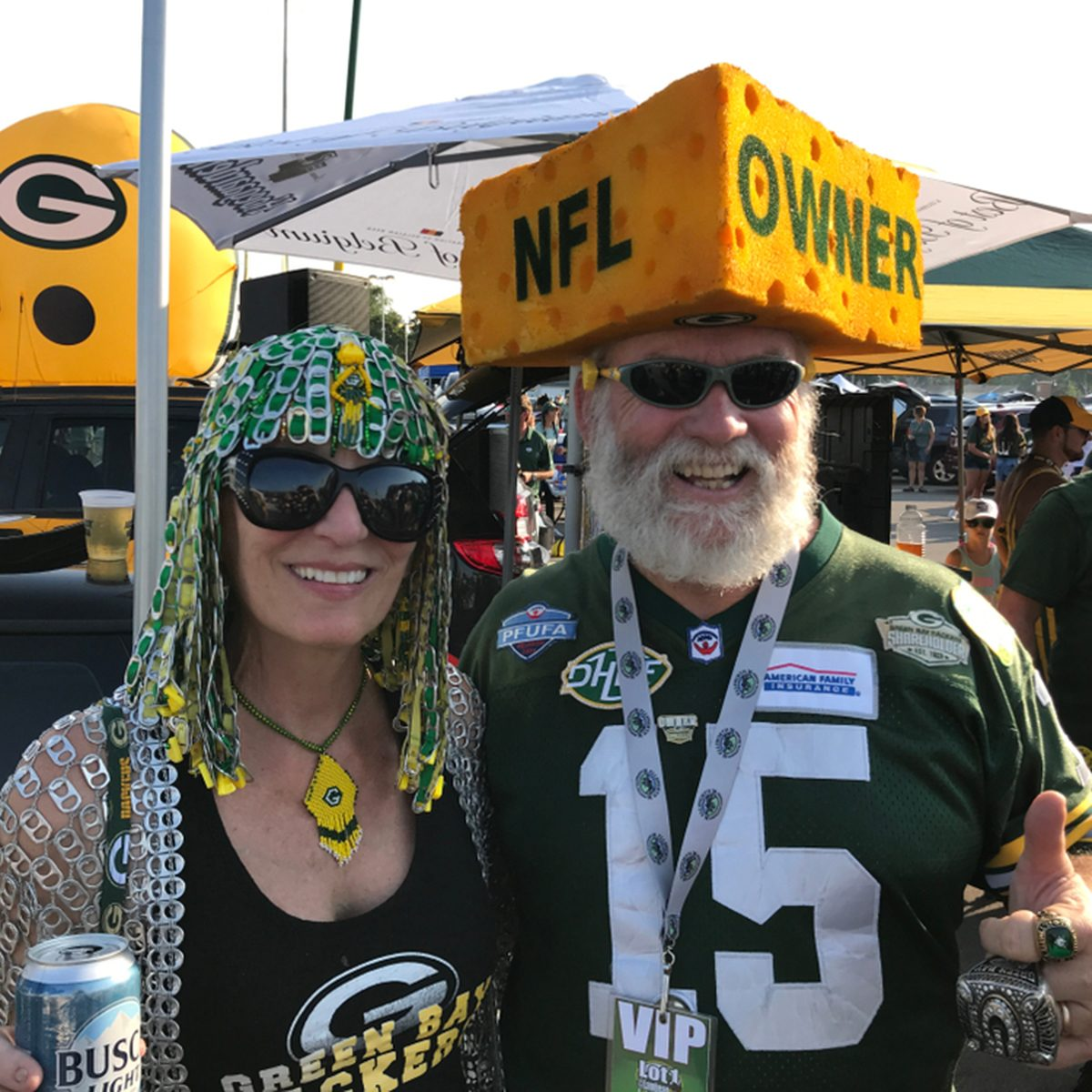 Packer fans during at tailgate party at Lambeau Field.