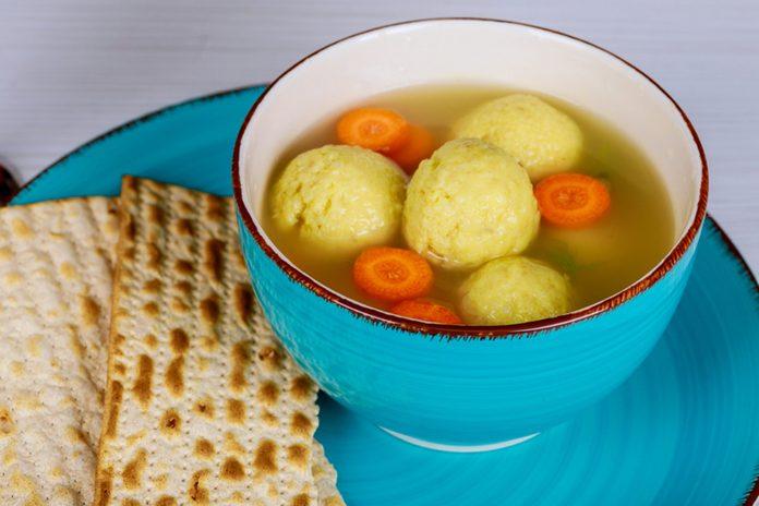Matzo Matzah balls soup Passover Jewish holiday Food - Matzah balls soup; Shutterstock ID 1048968290; Job (TFH, TOH, RD, BNB, CWM, CM): Taste of Home