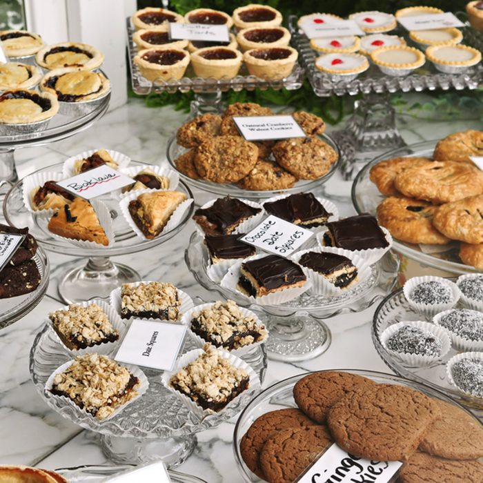 Various desserts on display in bakery window; Shutterstock ID 13122730