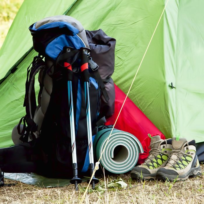 Mountain Camping Equipment with a Tent,Boots, Backpack, Trekking Poles and Sleeping Pad; Shutterstock ID 215842618; Job (TFH, TOH, RD, BNB, CWM, CM): Taste of Home