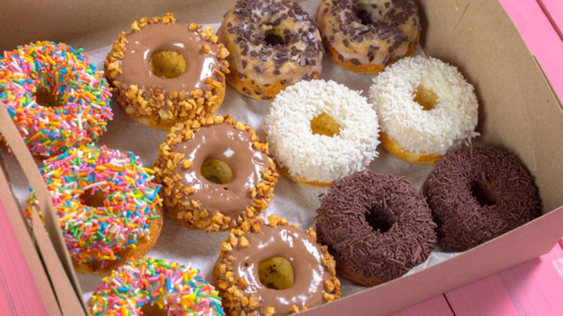 Colorful doughnuts in box