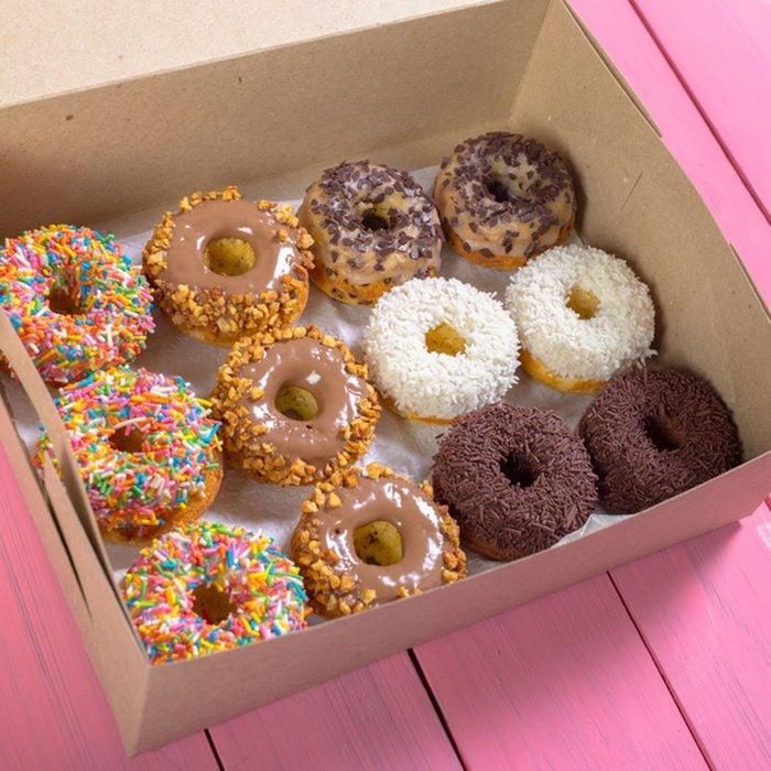 Colorful donuts in box; Shutterstock ID 422346634; Job (TFH, TOH, RD, BNB, CWM, CM): Taste of Home