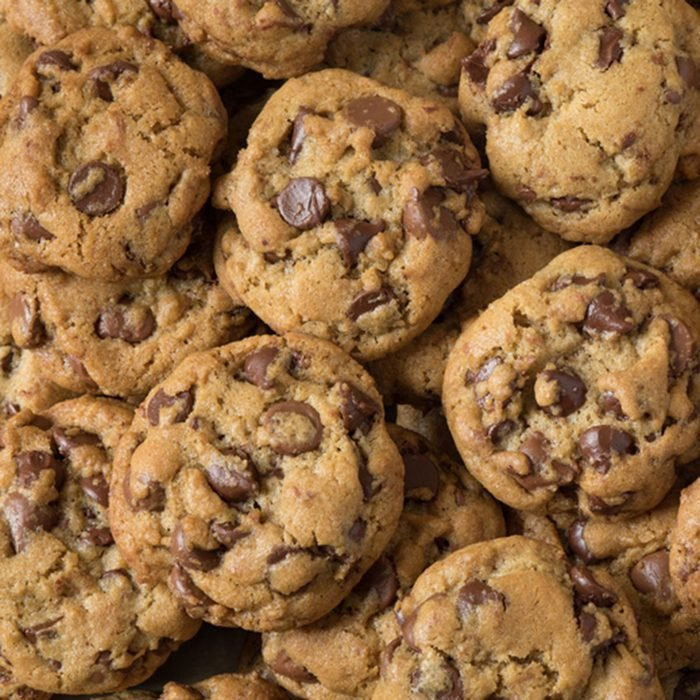 many chocolate chip cookies stacked; Shutterstock ID 662212138