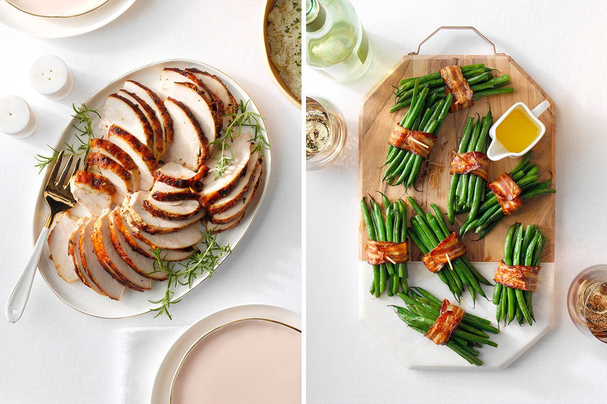 Image of simple Thanksgiving recipes: Turkey and green bean and bacon bundles.