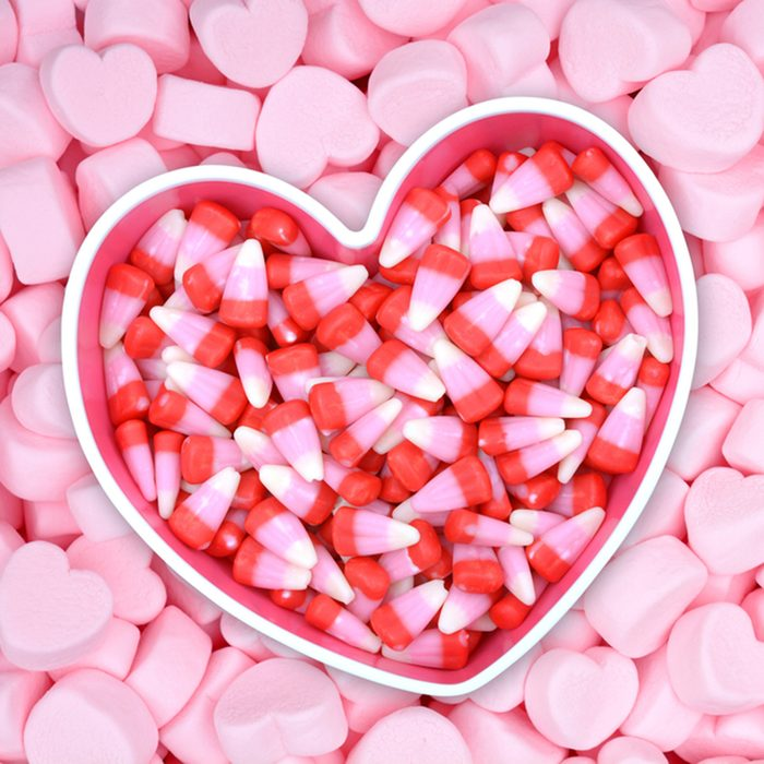 candy corn on pink marshmallow for Valentine Day