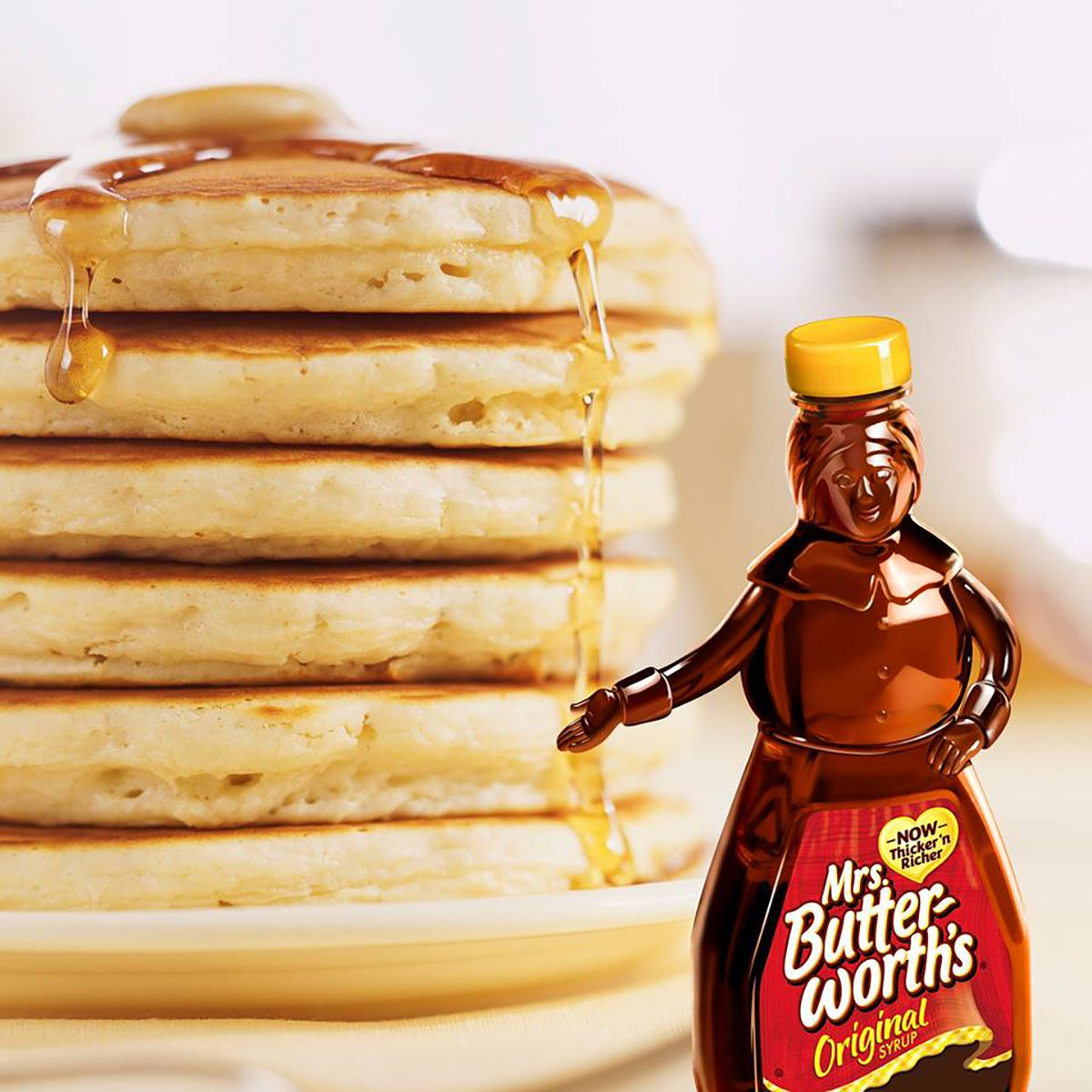 Mrs. Butterworth's syrup with pancakes