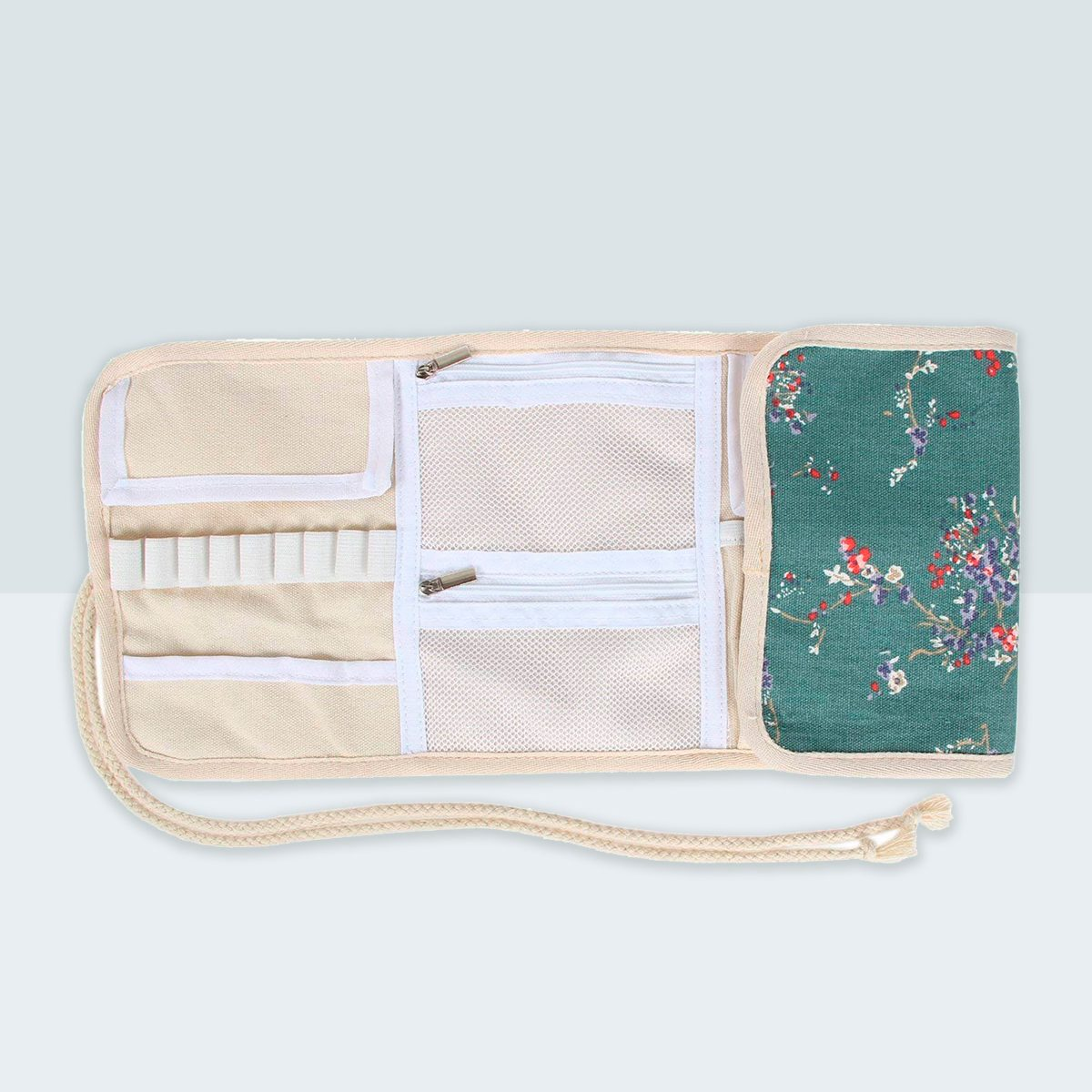 Teamoy Crochet Hook Case, Canvas Roll Bag Holder Organizer for Various Crochet Needles and Knitting Accessories, Compact and All-in-one, Plum Flowers