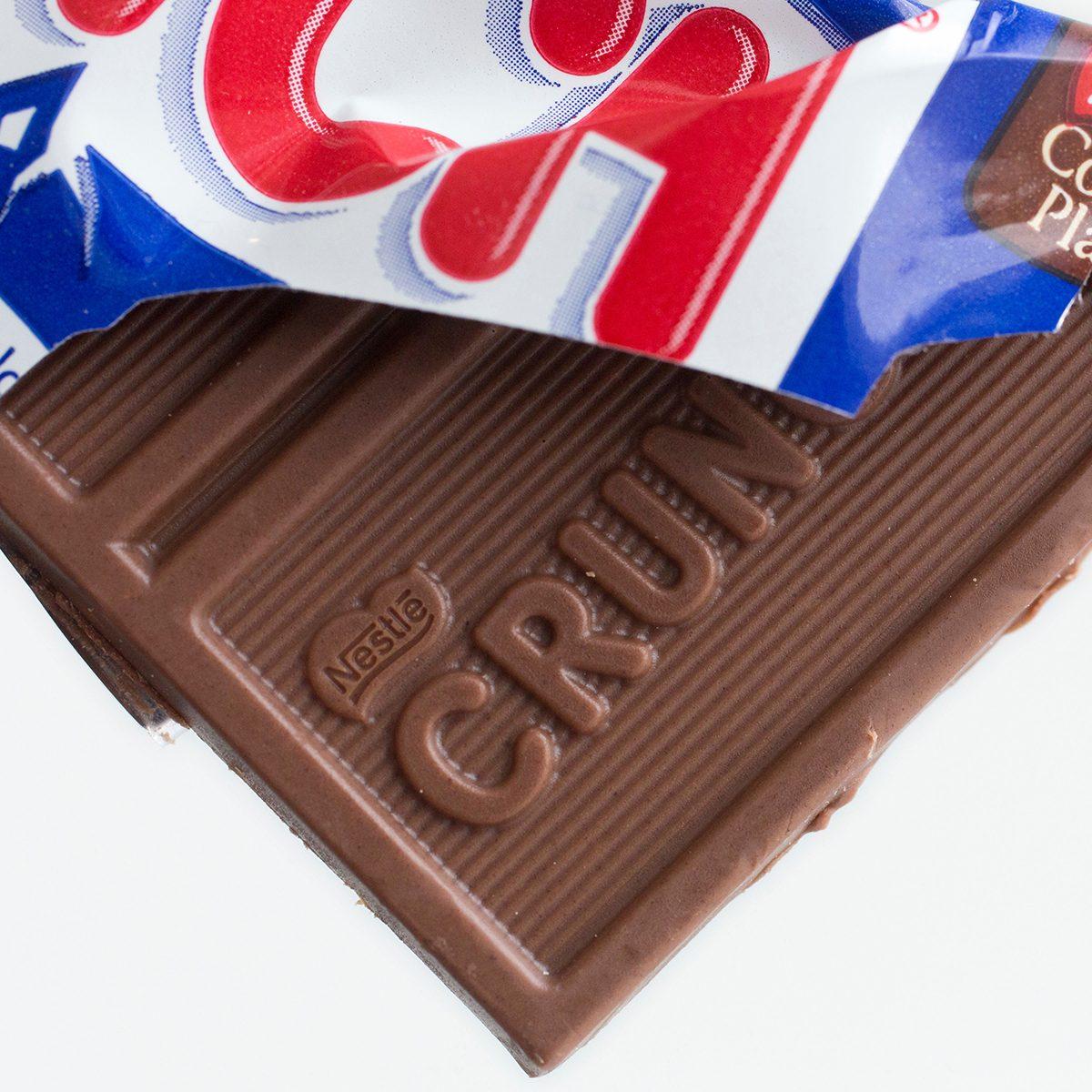 A Nestle Crunch candy bar
