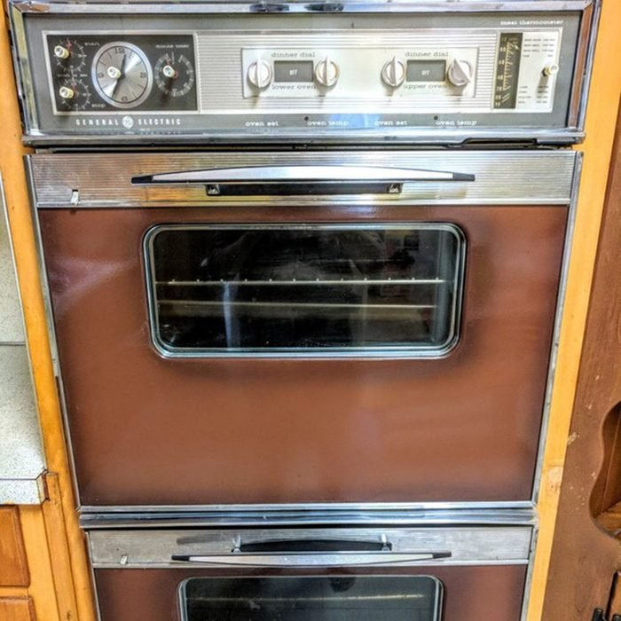 GE 1960s Appliances, Double Oven, Cooktop and Range Hood - Retro Brown & Silver