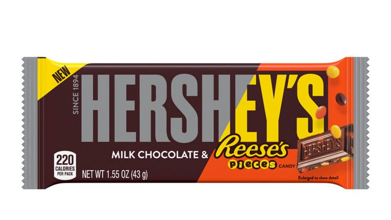 HERSHEY'S Milk Chocolate Bar with REESE'S PIECES candy