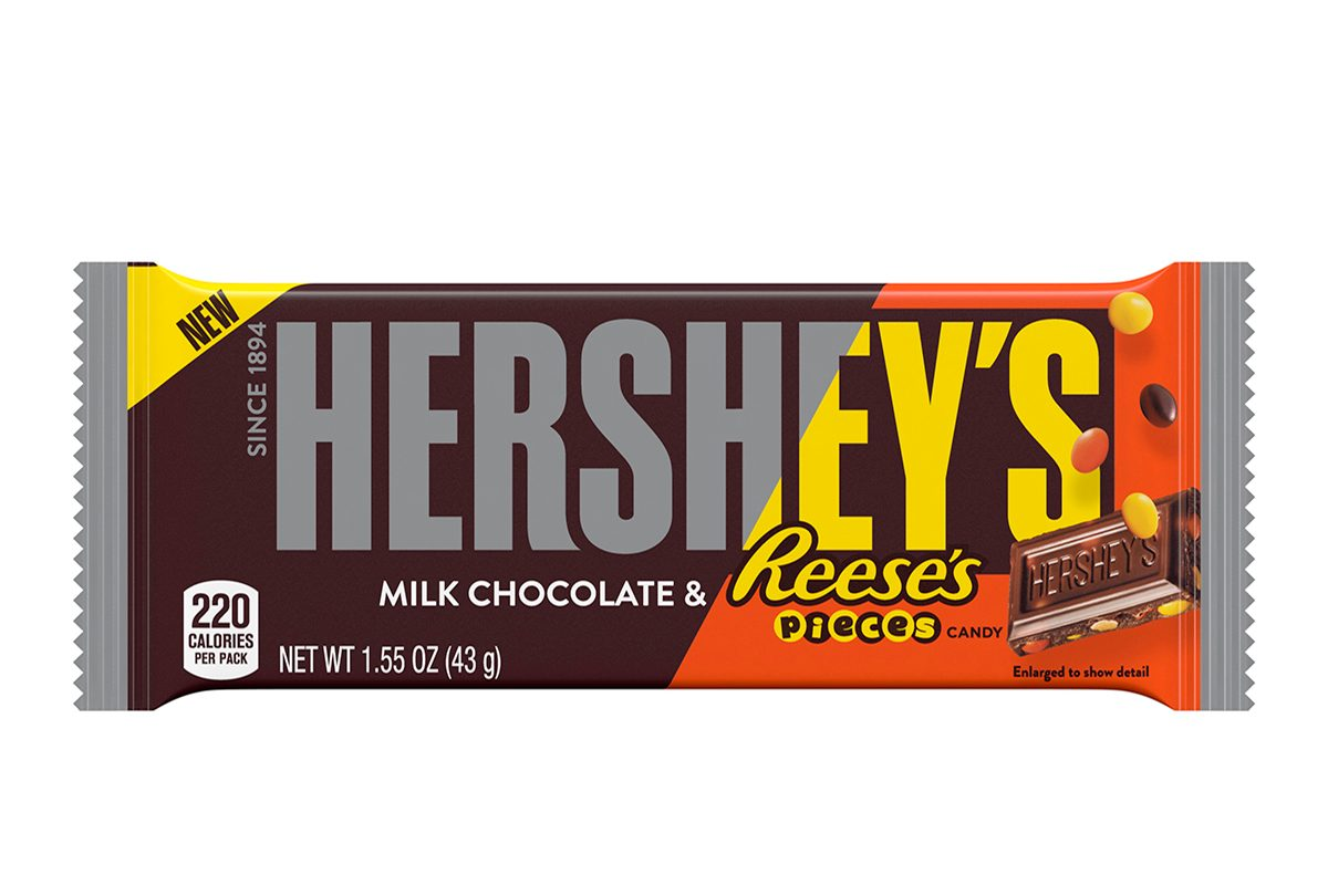 Hersheys New Chocolate Bar Is Studded With Reeses Pieces Taste