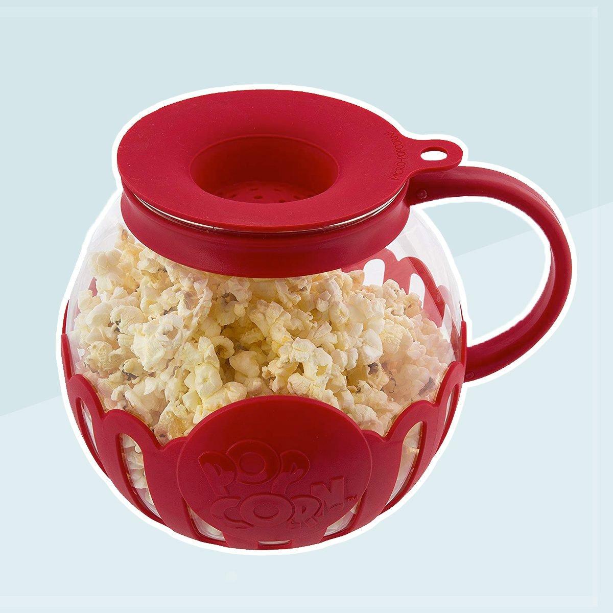 Ecolution EKPRE-4215 Micro-Pop Glass Popcorn Popper-Maker Large, 1.5 Qt-Snack Size, Eco-Friendly, Red