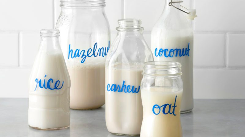 Bottles of non dairy milk alternatives