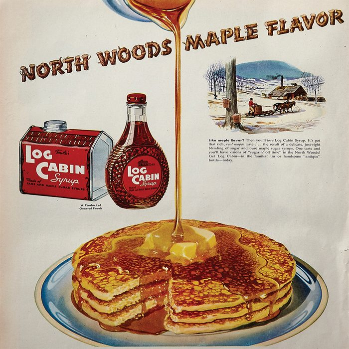 vintage ad for log cabin maple syrup