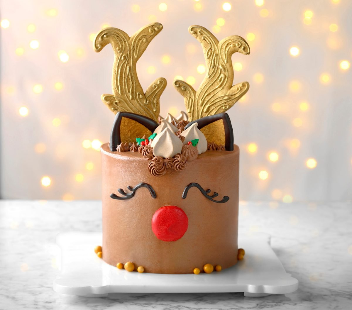 Decorated holiday reindeer cake