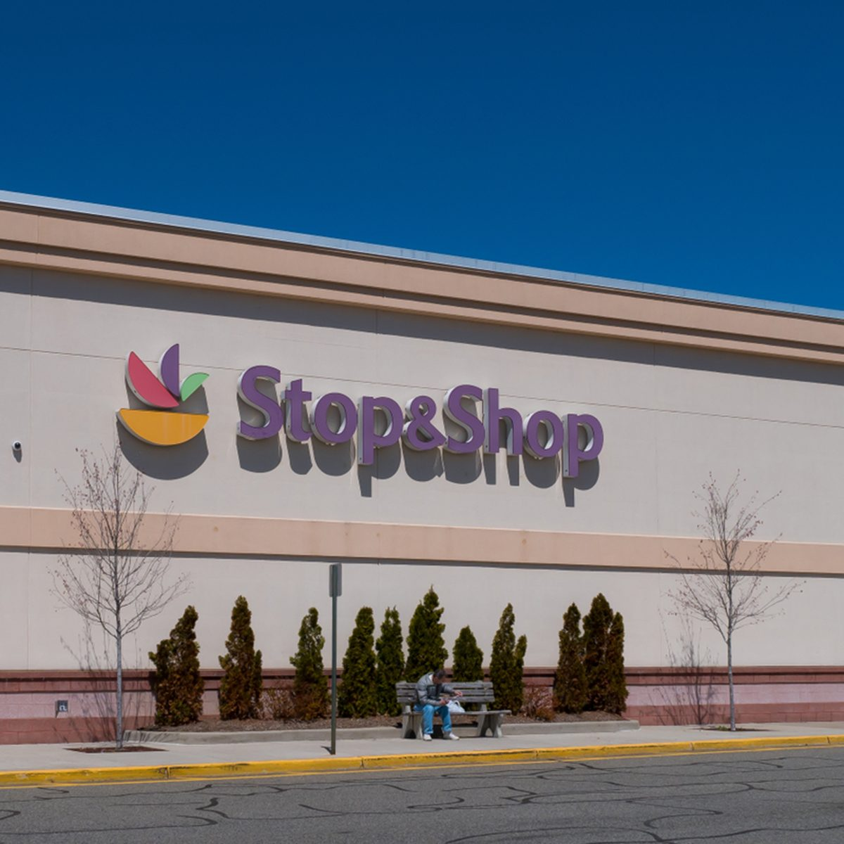 Stop & Shop supermarket on a sunny day with a clear blue sky.