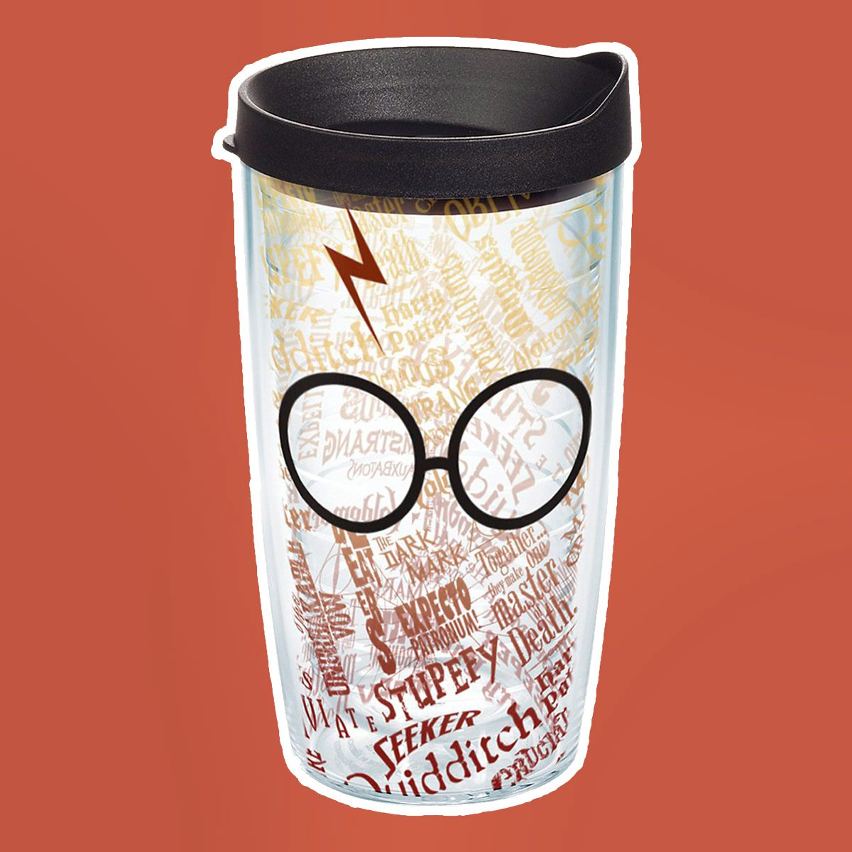 Tervis 1209497 Harry Potter - Glasses and Scar Tumbler with Wrap and Black Lid 16oz, Clear