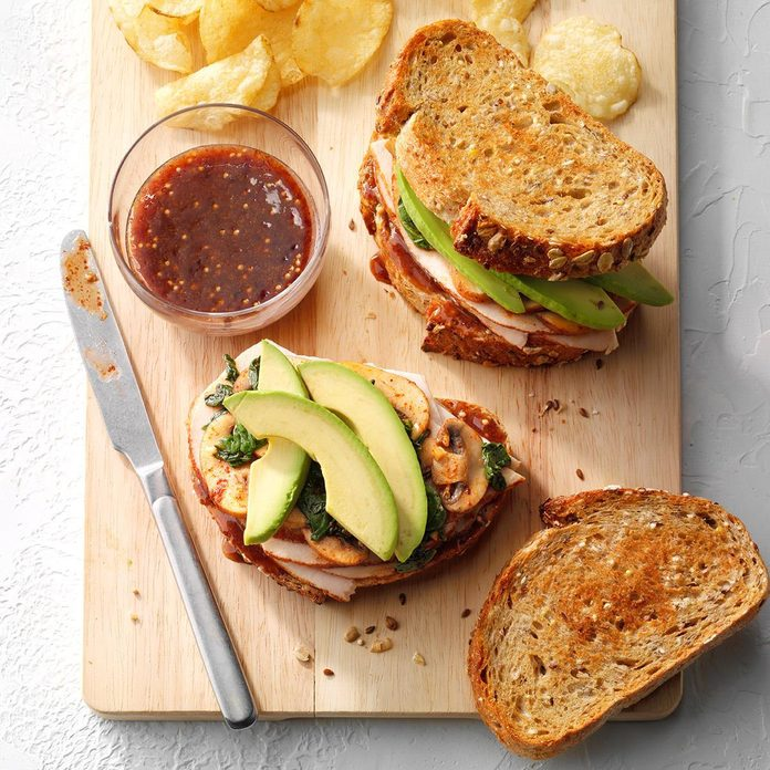 Turkey Sandwich With Raspberry Mustard Spread Exps Sddj19 214388 E07 17 7b 2