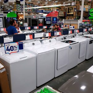 A family shops for washing and drying machines at Lowe's Home Improvement store in East Rutherford, N.J Durable Goods, East Rutherford, USA