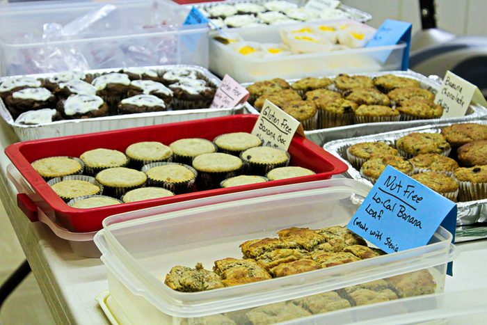 Gluten and nut free items at a bake sale.
