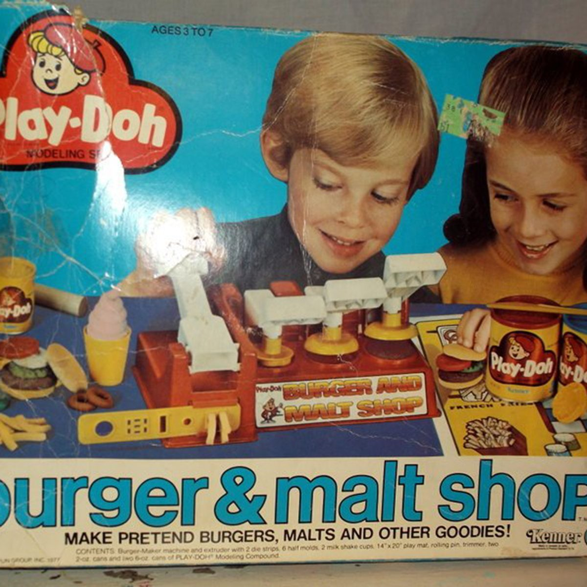 Play Doh Set Vintage 1977 Kenner Play-Doh Modeling Set Burger and Malt Shop