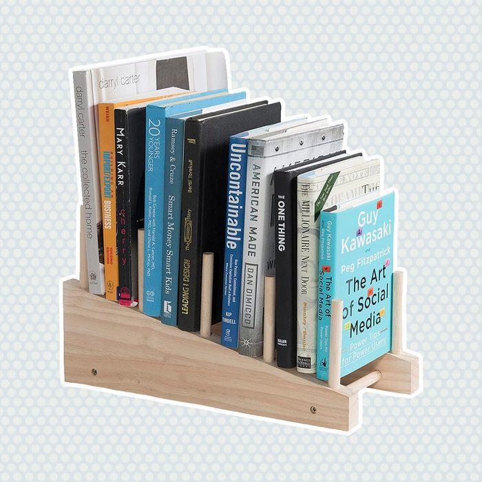 brightmaison Wooden Book Holder Decorative Free-Standing Bookend 4-Slot Magazine Mail File Rack Office Desktop Organizer Décor Display Natural Unfinish Wood