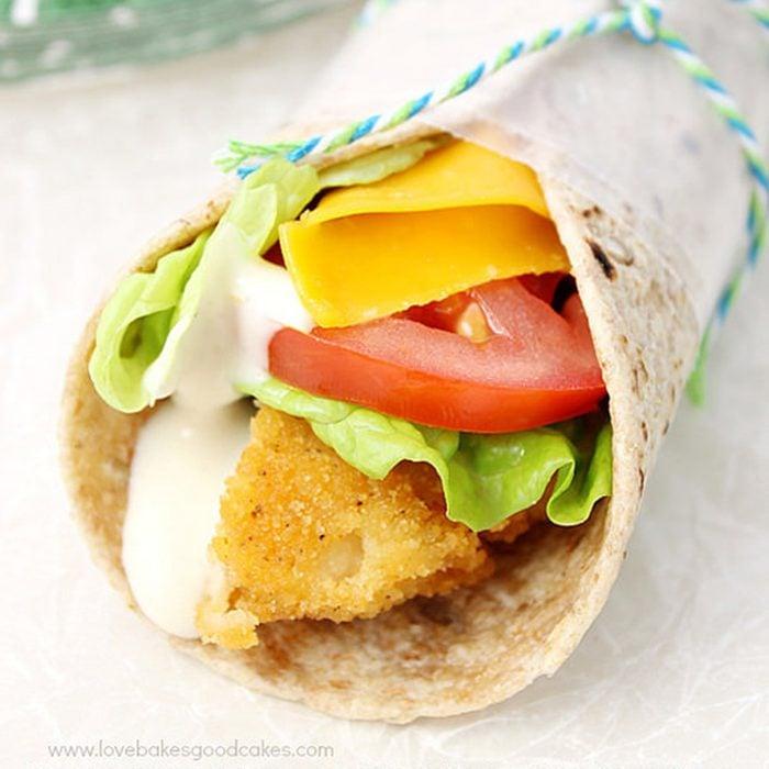 Crispy chicken snack wrap