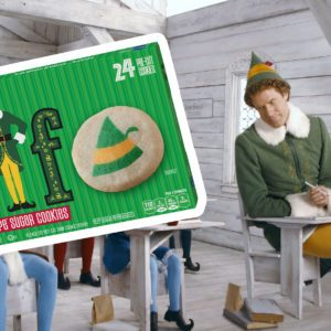 Elf cookies over a still from Elf movie