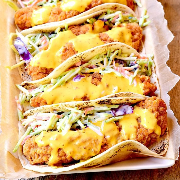 Honey mustard chicken tacos