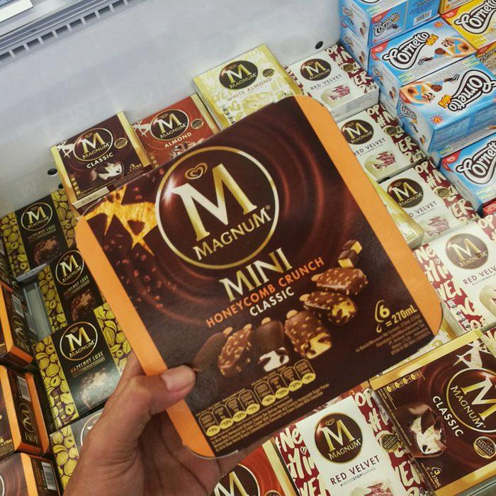assorted of magnum mini ice cream in supermarket
