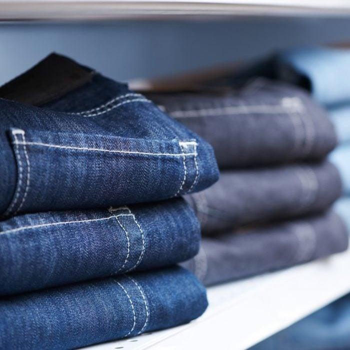 Shelf of jeans