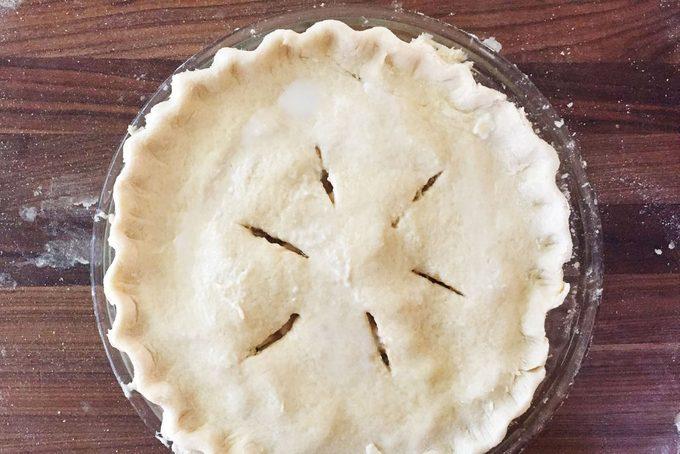 Apple pie filling in crust