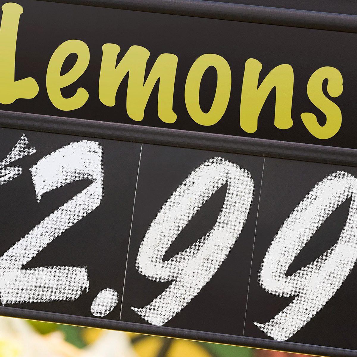 Lemon price sign