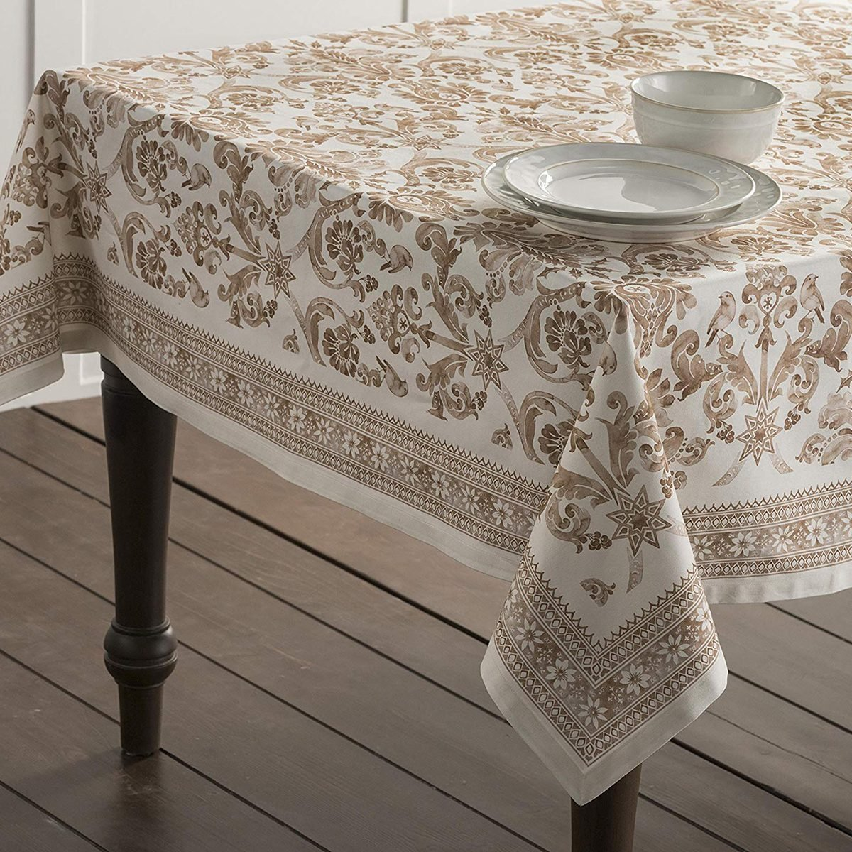 Maison d' Hermine Allure 100% Cotton Tablecloth 60 Inch by 108 Inch. Perfect for Thanksgiving and Christmas