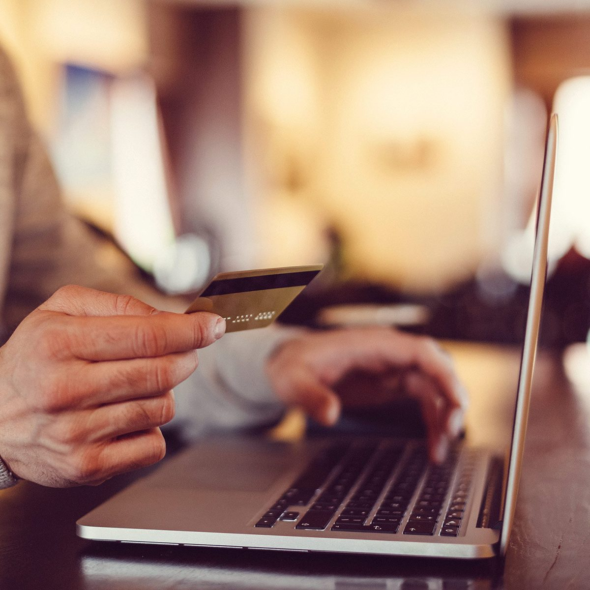 Man paying with a card online