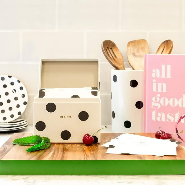 Kate Spade New York Recipe Box with 40 Double Sided Recipe Cards, Deco Dot