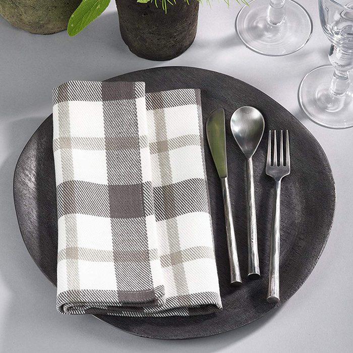 """SARO LIFESTYLE Yuri Collection Plaid Design Cotton Napkin (Set of 4), 20"""", Grey"""