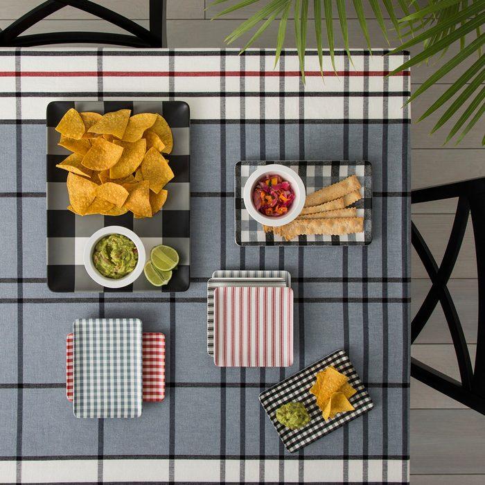 Plaid serving trays