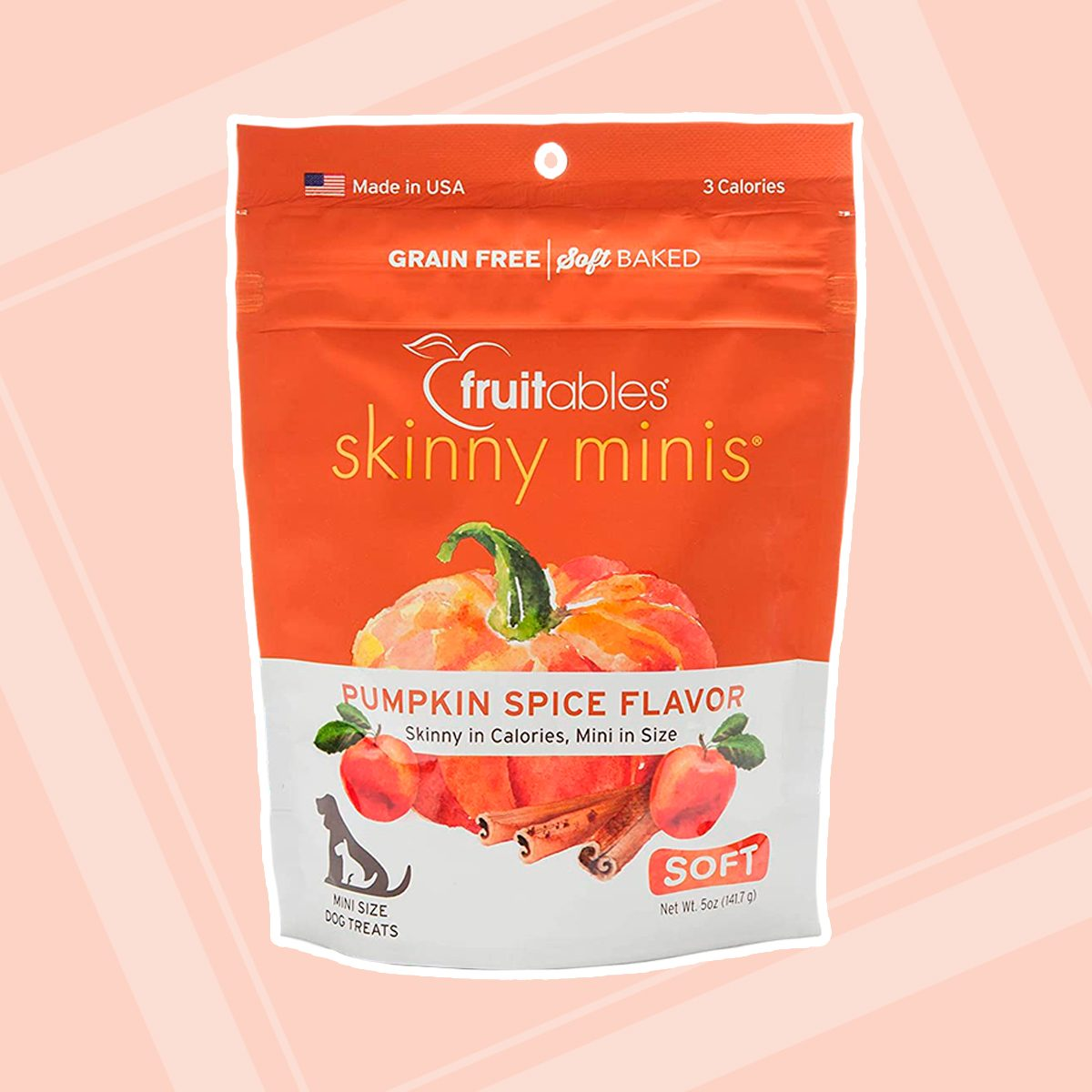 Fruitables 5 Ounce Skinny Minis Pumpkin Spice Soft and Chewy Dog Treats Pack of 3