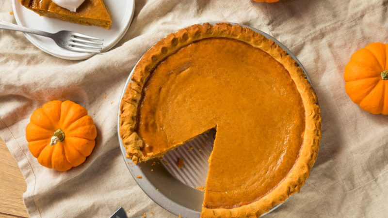 Sweet Homemade Thanksgiving Pumpkin Pie Ready to Eat