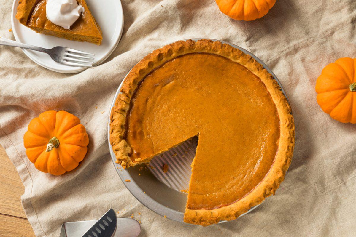 Sweet Homemade Thanksgiving Pumpkin Pie Ready to Eat