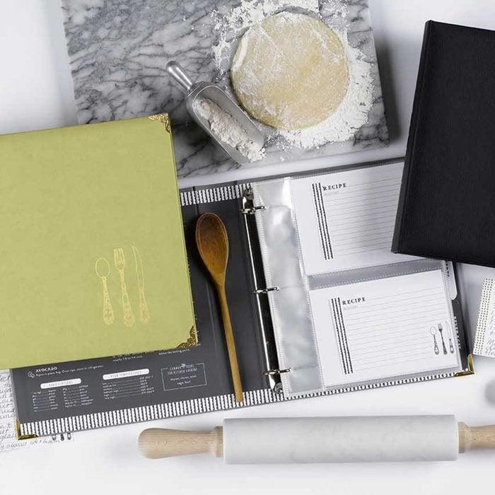 C.R. Gibson Leatherette Recipe Binder, Gray/Multicolor