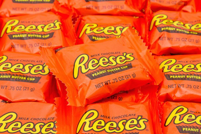Reese's Peanut Butter Cup Candy Background.
