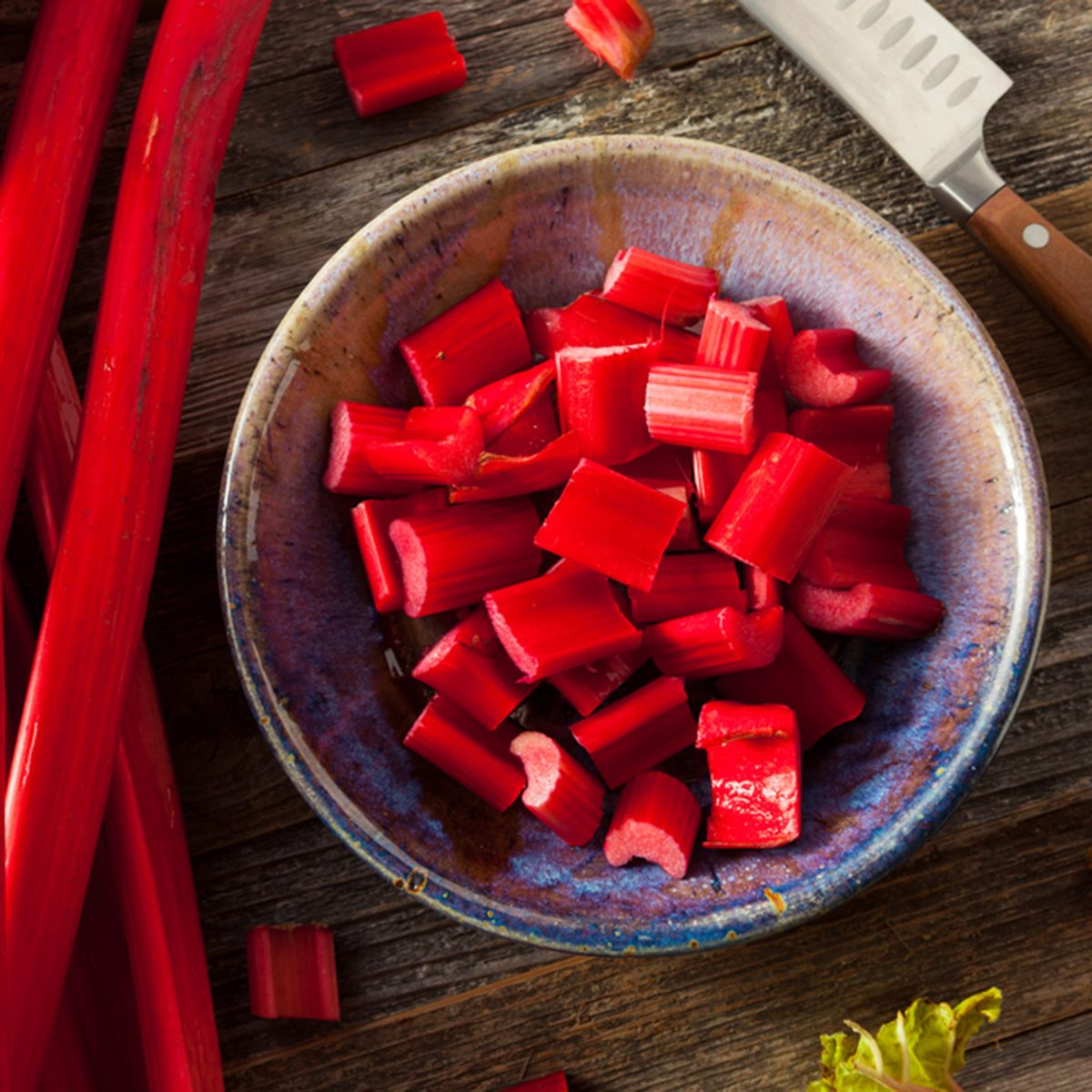 Raw Organic Red Rhubarb Ready to Use