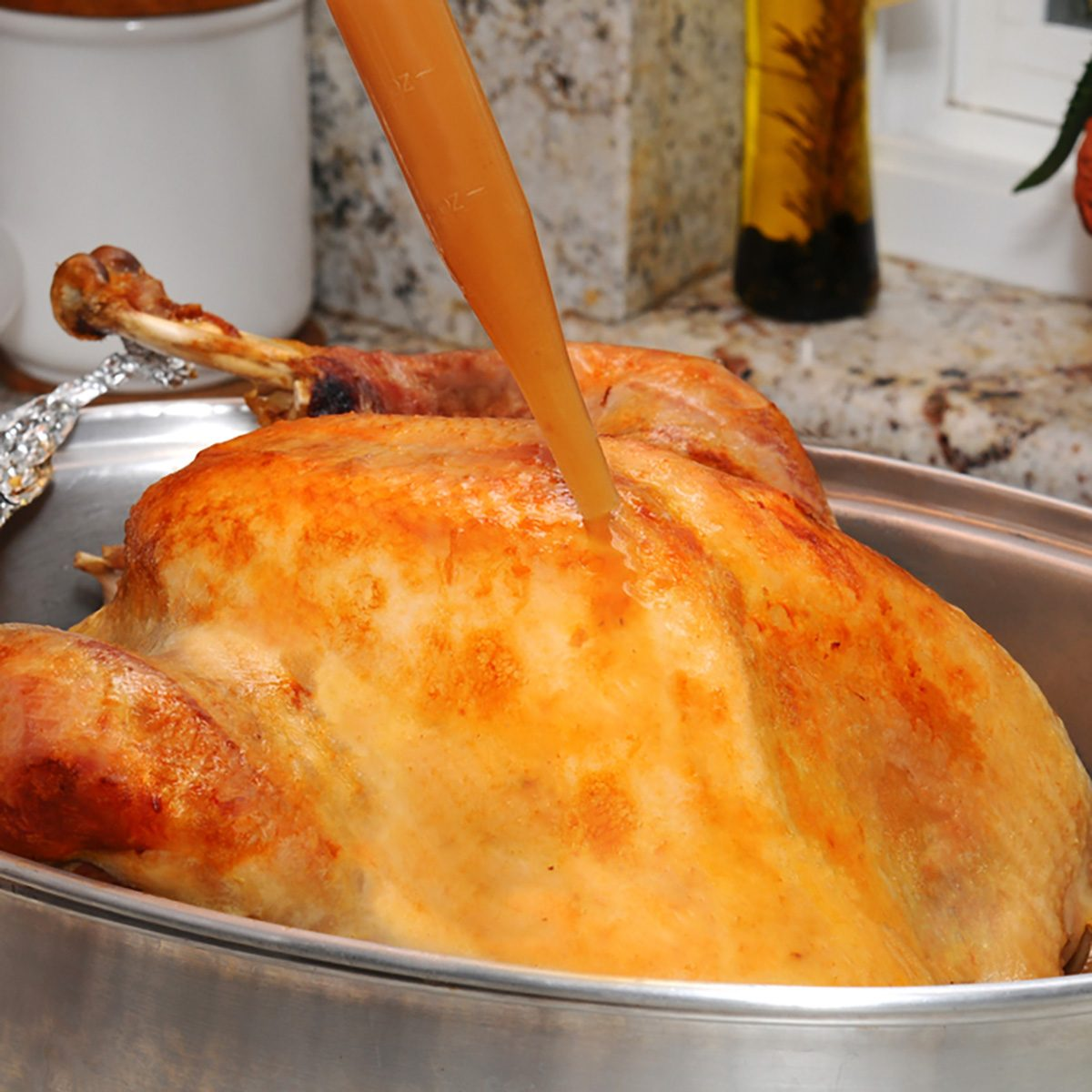 Closeup of a Thanksgiving Turkey being basted with its own juices