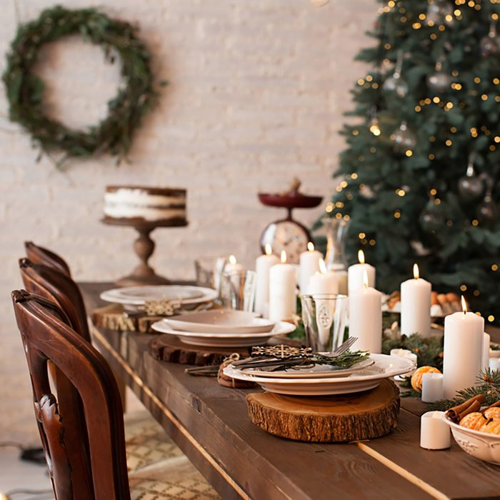 rustic christmas served table