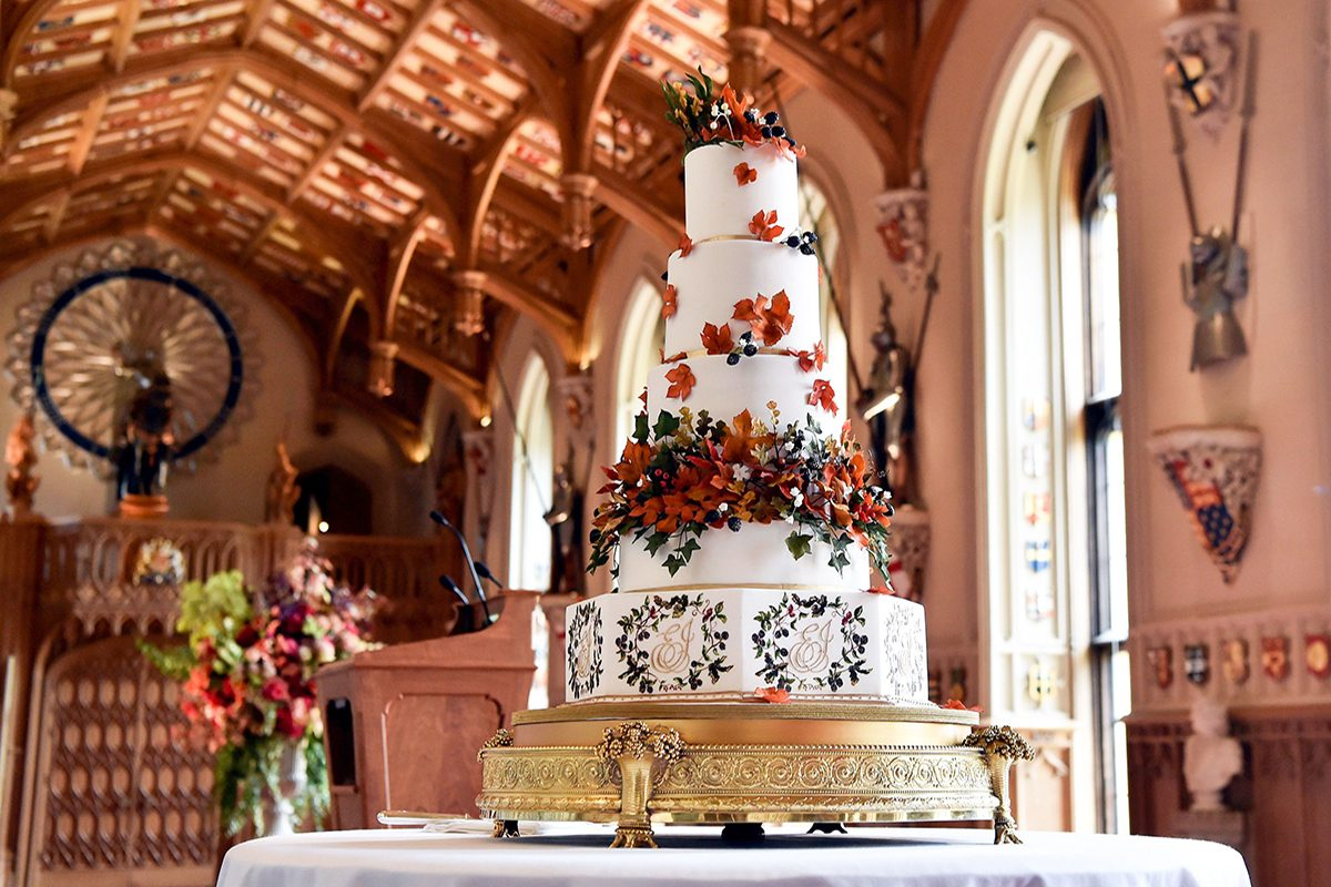 The wedding cake created by Sophie Cabot The wedding of Princess Eugenie and Jack Brooksbank, Cake, Windsor, Berkshire, UK - 12 Oct 2018
