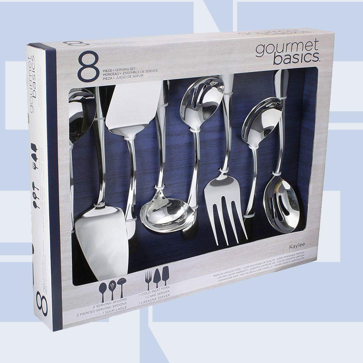 Gourmet Basics by Mikasa 5181046 Kaylee 8-Piece Stainless Steel Hostess Serving Utensil Set