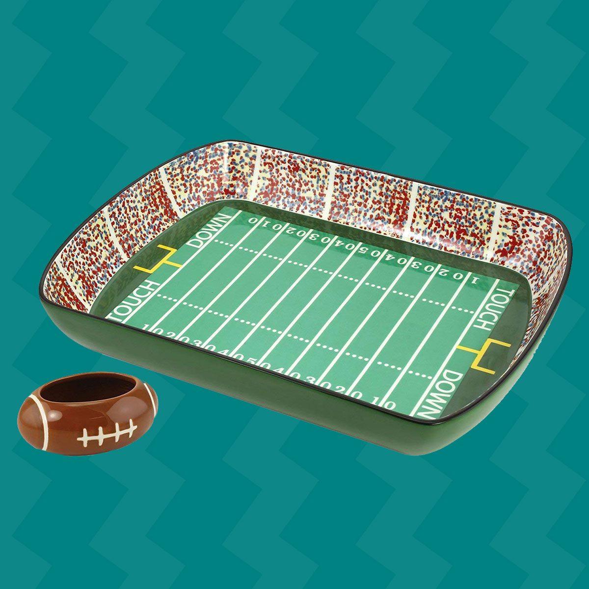 KOVOT Football Stadium Game Day Ceramic Chip and Dip Dish, Green