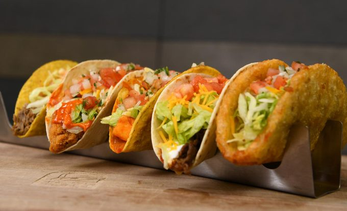Five tacos in a row from Taco Bell